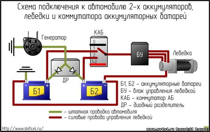 Схема подключения доп аккумулятор